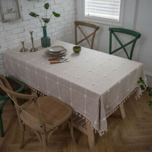 Cotton Linen Tablecloth Rectangular Tassel Table Cloth Covers Dining Home Decor