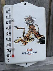 Vintage Style Esso Tiger Service Gas Motor  Oil  Porcelain Thermometer Sign