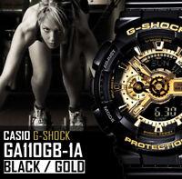 NEW CASIO G SHOCK G-SHOCK GA 110 GB 1A BLACK / GOLD XL DIAL RESIN BAND WATCH