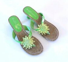 Womens Lime Green Flip Flop Tongs Size: 8 AA,N Floral Daisy Low Heels Bridesmaid