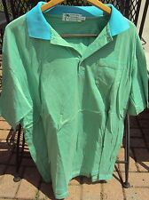 A PERFECT DAY IN PARADISE GREEN-YELLOW STRIPED 100% COTTON SPORT SHIRT SIZE XXL