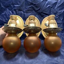 Set Of 3 Three Raw Brass Sconces Rewired Fixtures 77A