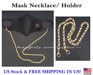 Face Mask Necklace, Mask Holder, Mask Strap, Gold Pleated with Pearl *US SELLER*