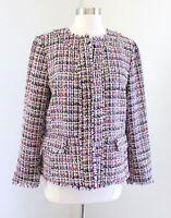 Ann Taylor Colorful Multi Color Tweed Fringe Collarless Blazer Jacket Size 10