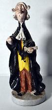 "Vintage 8"" Italy Porcelain Statue Judge in Black Robe Office Desk Gift"