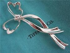 TIFFANY & Co. LARGE 925 STERLING SILVER 1985 RIBBON PIN BROOCH, VINTAGE
