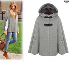 Women's gery wool jacket cape poncho Jacket  Woolen Cloak shawl Coat hooded