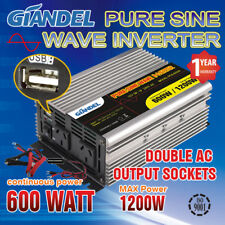 Pure Sine Wave Power Inverter 600W/1200W Max12V 240V With Car Plug Cable