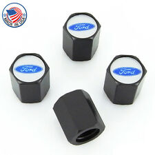 Ford Blue Logo Black Tire Stem Valve Caps