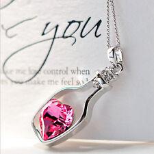Moda Mujeres Plata Cadena Cristal Corazón Colgante Collar Joyería Regalo Especial