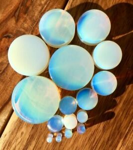 PAIR Opalite Opalescent Stone Moonstone Plugs Gauges - up to 38mm available!