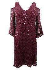 Nightway Women's Sequined Lace Bell-Sleeve Dress (4, Merlot)