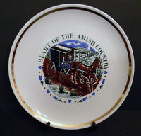 "Heart of the Amish Country Decorative Plate 9 1/4"" Gold Trim Souvenir VTG Buggy"