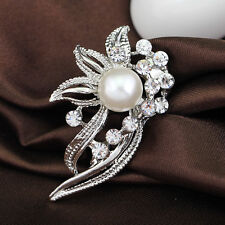 Flower Bridal Wedding Silver Rhinestone Crystal Pearl Broach Pins Brooch Bouquet
