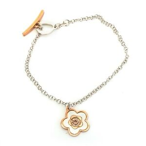 Sterling silver 925 Italian mother of pearl flower bracelet rose gold plated