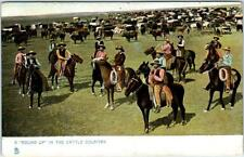 """""""A ROUND UP in the CATTLE COUNTRY""""  ca 1900s Tuck Ranching in the West  Postcard"""