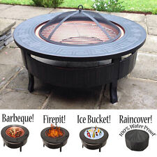 3 in 1 Outdoor Garden Fire Pit BBQ Firepit Brazier Round Stove Patio Heater New