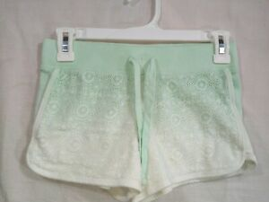 JUSTICE ACTIVE Girl's Green & White Drawstring Waist Short Shorts size 10