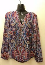 INC Paisley Boho Red Blue Sheer Top Blouse Lace Up Pullover Festival Size 0
