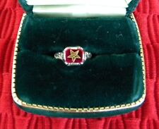 BEAUTIFUL ANTIQUE 14K WHITE GOLD ORDER OF THE EASTERN STAR MASONIC RING