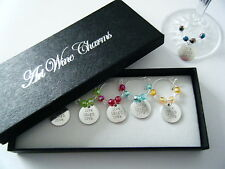 Boxed set of 6 Live Laugh Love wine glass charms with coloured beads ideal gift