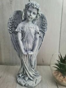 Large Stone Effect Standing Winged Guardian Angel Garden Statue Patio Decor