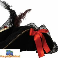 DELUXE FEMALE PIRATE HAT WITH FEATHER One Size FAST POST Womens Fancy Dress