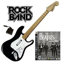 NEW PS3 Rock Band Wireless Fender Stratocaster & Beatles Rock Band Game Bundle