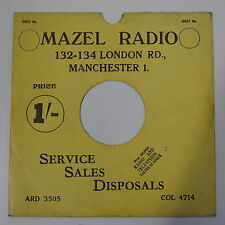 "78rpm 10"" card gramophone record sleeve / cover MAZEL RADIO , MANCHESTER yellow"