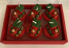 Set of 6 Choo Choo Train Shaped Holiday Votive Candles in Red Tin Holders New