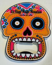 Six Flags Magic Mountain Day Of The Dead Orange  Skull Bottle Opener Magnet New