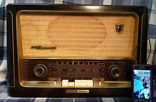 WORKING Vintage GRUNDIG Majestic 1060 Tube Radio. Plays music from your Phone!