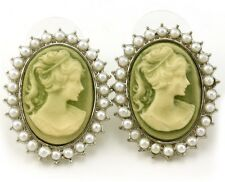Light Olive Green Cameo Stud Post Pierced Earrings White Faux Pearl Silver Tone