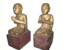 Antique Burmese wood Disciples Monks 19th century Myanmar Burma