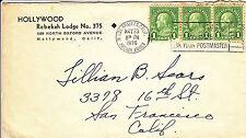 US Cover - Masonic - Hollywood Rebekah Lodge # 375 - DPO 1930-1940 - US 6129