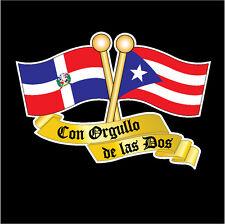 PUERTO RICO &  DOMINICAN REP FLAG CAR DECAL STICKER   #273D