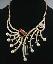 Rhinestone (Green) Gold Plate/Tone Choker Pearl Statement Necklace