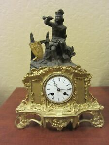 Antique Napoleon III French Bronze Dore' Clock Circa 1880 to Restore