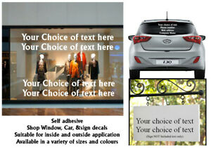 1X Car & Van shop Vinyl Signs Writing Rear window Stickers Decals Personalised