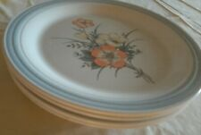 Set of four country glen sunny meadows dinner plates 10.5 in white with flowers