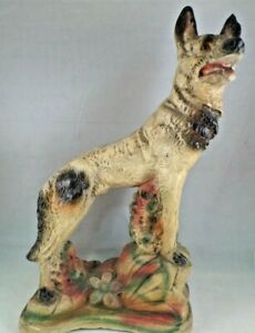 "Vintage RIN TIN TIN Chalkware Statue Figurine 1920's German Shepherd 13"" Tall"