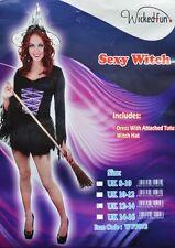 Black & Purple Tutu Dress Witch Fancy Dress Costume Festival M UK 12-14 Gothic