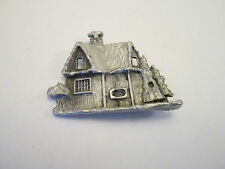 Vintage Pewter Rustic Country Home Cabin Pin Brooch     S70