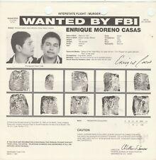 FBI WANTED POSTER ENRIQUE MORENO CASAS-INTERSTATE FLIGHT-MURDER 11-15-88 ENGLISH