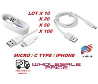 LOT 10/20/50/100 OEM Micro USB/Type-C Fast Charging Cable For Samsung iPhone LG