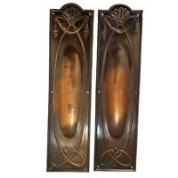 Push Door Finger Plate x2 Vintage Art Nouveau Possibly Copper Metal Furniture