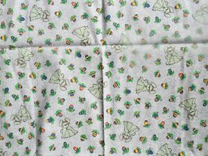 Cotton Fabric~~Easter~~Lilac Dotted Background with Bunnies and Easter eggs