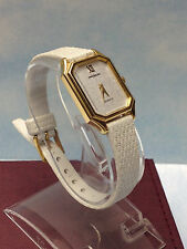 PRETTY MAGNUM WOMENS GOLD WATCH WHITE RECTANGULAR DIAL & LEATHER STRAP OLD STOCK