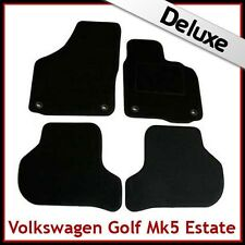 VW Golf Estate Mk5 2007-2009 Oval Clips Tailored LUXURY 1300g Carpet Mats BLACK