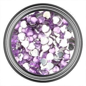 Light Purple Heart Rhinestone Gems Flat Back Face Art Nail Art Jewels Decoration